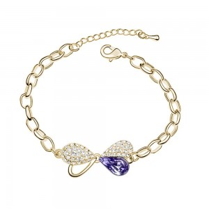 Bracelet papillon plaqué or rose cristal swarovski elements