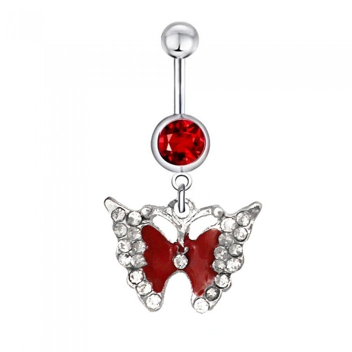 Piercing nombril papillon rouge strass acier chirurgical
