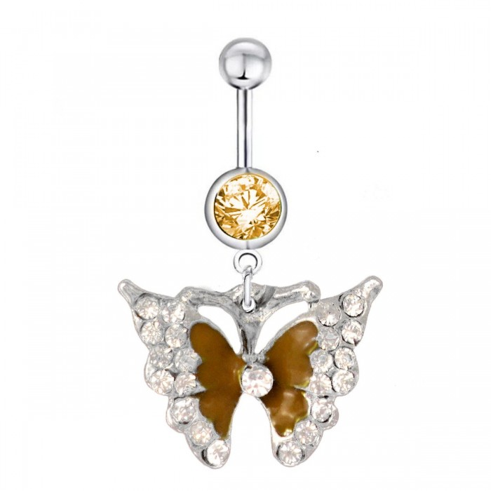 Piercing nombril papillon orange strass acier chirurgical