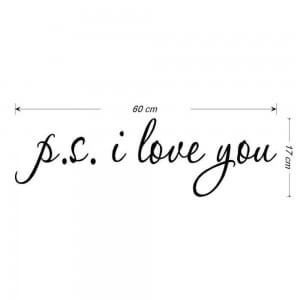 Sticker mural citation ps i love you noir 60 cm X 17 cm