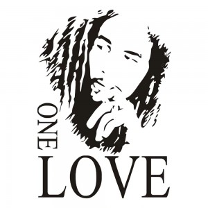 Sticker murale Bob Marley citation ONE LOVE noir 45 cm X 63 cm