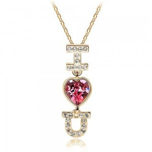 Collier I LOVE YOU coeur strass je t'aime doré rose