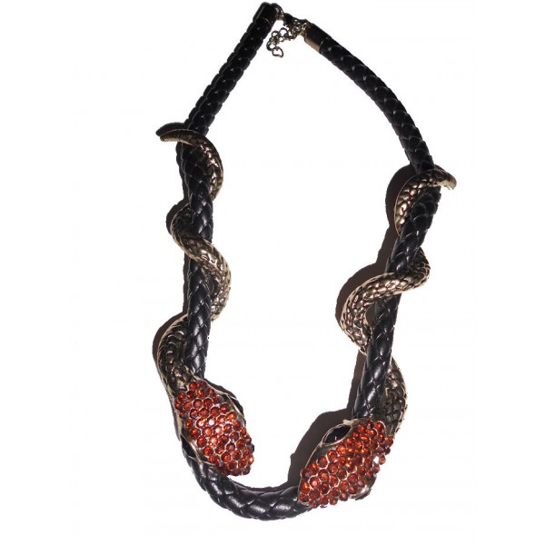 Collier deux serpents enroulés strass orange