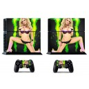 Sticker skin autocollant console PlayStation 4 femme blonde sexy
