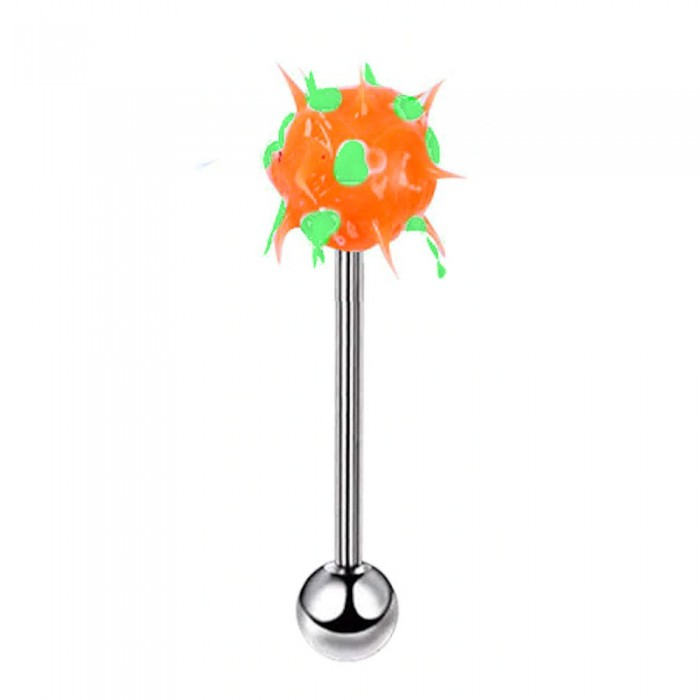 Piercing langue virus orange vert tige acier inoxydable